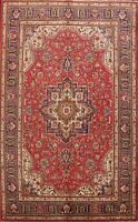 Vintage Geometric Traditional Tebriz Area Rug Oriental Hand-Knotted 7x10 ft Wool