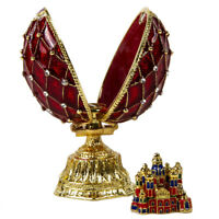 Red Faberge Egg Replica Trinket Box, St Basil Cathedral Insert, Easter Gift, 9cm