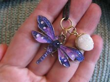 New Purple Mystic Charmer Dragonfly Pendant W/ Mini Natural Quartz Crystal Druzy