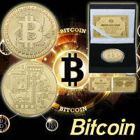 WR 24K Gold Bitcoin Coin Physical BIT Iron Coin Collectibles In Gifts Box