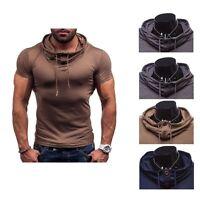 Mens Short Sleeve V Neck Shirts Slim Fit T-Shirt Casual Muscle Tee Fashio Sale