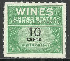 U.S. Revenue Wine stamp scott re123 - 10 cent issue of 1942 - mngai
