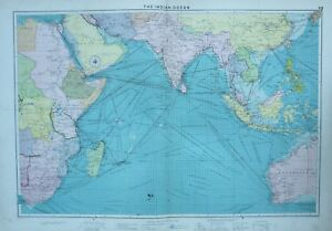 1920 LARGE MERCANTILE MARINE MAP INDIAN OCEAN LIGHTHOUSES DOCKS ROUTES AFRICA