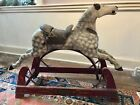 Antique Child's Wood Carved Rocking Hobby Horse with Original Painted Frame