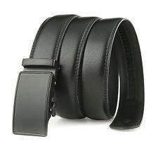 Men's Gents Leather Automatic Buckle Black Waist Strap Belt Waistband Gift