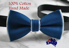 Men Women Petrol Blue Grey 2 Layers 100% Cotton Hand Made Bowtie Bow Tie Wedding