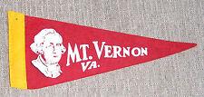 "Vintage Pennant MOUNT VERNON MT. VERNON  VIRGINIA - 8 1/2"" x 3 3/4"""