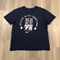 "Nike Mens 2XL ""Skilled In All Conditions"" 1972 Navy T Shirt Athletic Cut"