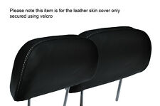 WHITE STITCH 2X FRONT HEADREST LEATHER SKIN COVERS FITS HONDA PRELUDE 1986-1991