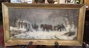 Original Oil Painting on Canvas Circa 1890 Signed Winter Loggers Scene