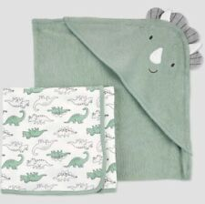 Just One You by Carter's Baby Boys' Dinosaur Bath Towel Set, Green NEW