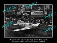 OLD HISTORIC PHOTO OF VANCOUVER CANADA, PNE PARADE, 1953 PACIFIC WINGS FLOAT