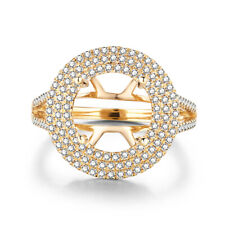 Solid 10K Yellow Gold Round 8.5mm to 9.5mm 0.6CT Diamond Semi Mount Ring Jewelry