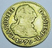 Authentic 1779 Spanish Gold 1/2 Escudo Old Antique Pirate Doubloon Treasure Coin