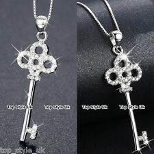 925 Silver Filigreed Key Pendant Chain Necklace Gift for Women Mum Wife Girl FR2