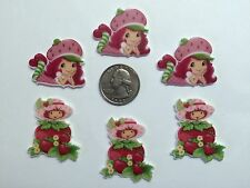 6 Pcs Lot Strawberry Shortcake Flatback Resin Cabochon Hair Bow Center Supply.