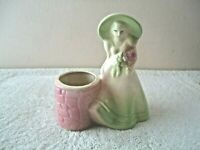 "Vintage Ceramic Woman Standing By Wishing Well Planter "" BEAUTIFUL COLLECTIBLE """
