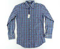 Peter Millar Mens Dress Shirt Long Sleeve Button Prem Blue Plaid Check Small S