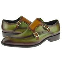 Carrucci Apron Toe Double Monk, Men's Dress Leather Shoes, Olive/Cognac