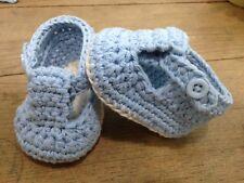 Patuco Azul Bebe 0/3 Meses Zapato Recién Nacido Ganchillo Crochet Artesanal