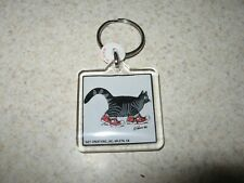 Kliban Cat in Tennis shoes 1990s Vintage Lucite Keychain Gift Creations Lot of 2