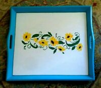 Vintage Serving Tray Hand Painted Sunflowers 22 by 20 inches Wood