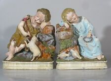 Antique German Statue, The Infant Jesus, John the Baptist, Lamb, Doves, Signed