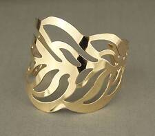 "shiny Gold tone cutout Leaf pattern metal bangle cuff 2 3/8"" wide bracelet"