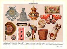 Stampa antica INDIA oggetti d'arte pendaglio vaso piattino tela 1910 Old print