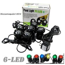6 Pond LED Spot Light Kit for Water Garden Koi Fish Pond Waterfall Fountain