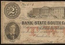 1861 $2 DOLLAR # 600 SOUTH CAROLINA BANK NOTE LARGE PAPER MONEY CIVIL WAR