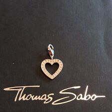 Thomas Sabo charm: silver & cubic zirconia heart, cut out design, hallmarked