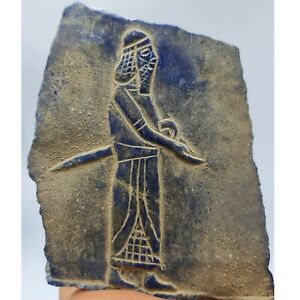 old near eastern rare carving lapis lazuli stone engraved relief # 1