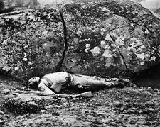 New 8x10 Civil War Photo: Confederate Dead at Devils Den, Gettysburg Battlefield