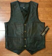 Roman Leather Collection Mens Size Medium Black Vest Biker Motorcycle NWT!