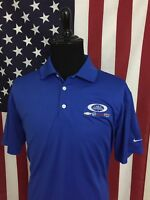 Nike Dri-Fit GMC Chevrolet Buick Polo Shirt men's LARGE blue wicking golf 17890