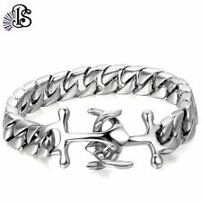 Mens Silver Stainless Steel Anchor Bracelet Chain Link Cuff Father's Day Gift