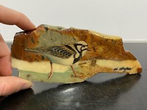 VTG Signed Painted Finch Bird Painting On Stone Slate