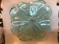 """ANNIEGLASS 18"""" DIAMETER FLOWER PLATTER CENTER PIECE BOWL LARGE STUDIO GLASS"""