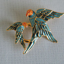 Vintage Sterling 925  Gold Tone Blue Orange Vermeil Enamel Bird  Brooch Pin  #47
