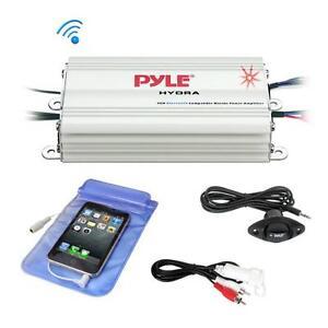 Pyle PLMRMB4CW Bluetooth Marine Amplifier Kit, 4-Ch. Waterproof Audio Power Amp