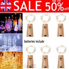 Wine Bottle Fairy String Lights Battery Cork Shaped Xmas Wedding Party 20 LED 2M