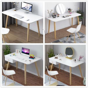 New White Dressing Table Computer Desk Workstation with Drawers Legs Home Office