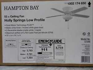 Holly Springs Low Profile 52'' LED Indoor Ceiling Fan w Light Kit Hampton Bay