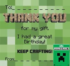 Thank you Cards / Notes Gift with Official Minecraft Sticker!