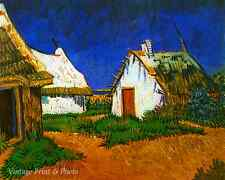Three White Cottages by Vincent Van Gogh - Art French Village 8x10 Print 0496