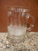 Vintage Hand Blown Romania Crystal Beer Mug Toscany Glass Tall Ship Etched MINT