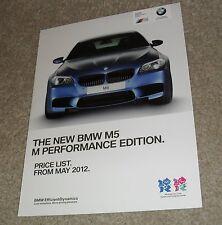 BMW M5 M Performance Edition Folleto de guía de precios 2012