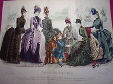 Double planche Journal des Demoiselles 1886 Mode de Paris 35x27 cm