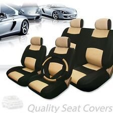 PREMIUM BLACK TAN SYNTHETIC LEATHER CAR SEAT STEERING COVERS SET FOR VW